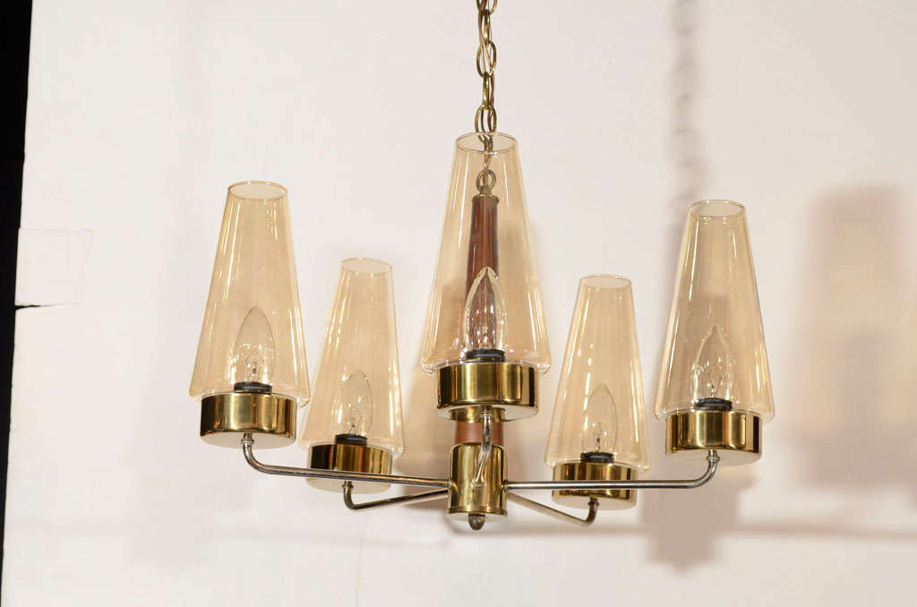 Danish Mid-Century Modern Chandelier in Teak and Brass In Excellent Condition For Sale In Fort Lauderdale, FL