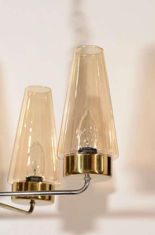 Mid-20th Century Danish Mid-Century Modern Chandelier in Teak and Brass For Sale