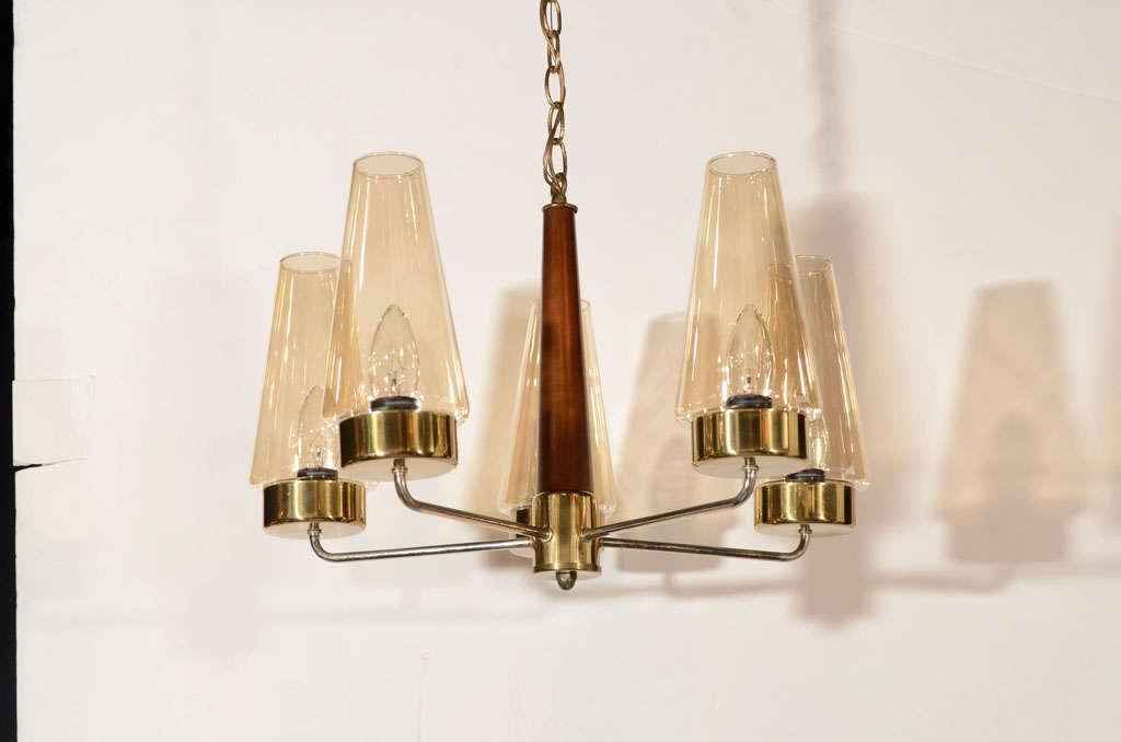 Danish Mid-Century Modern Chandelier in Teak and Brass For Sale 2