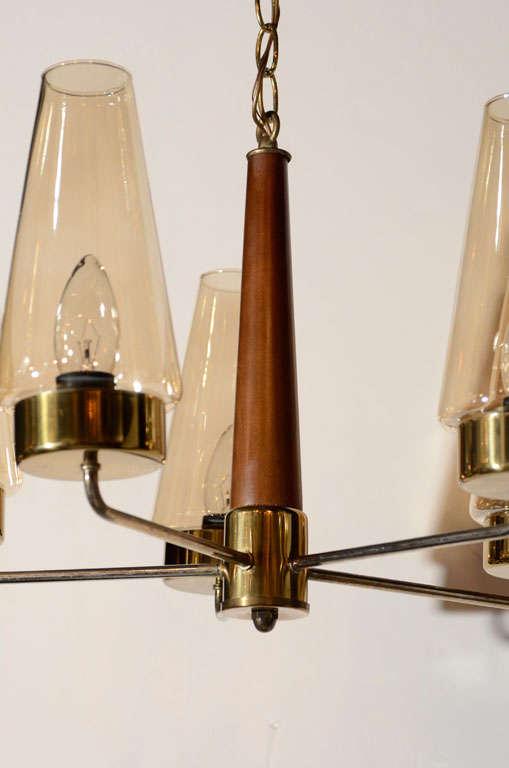 Danish Mid-Century Modern Chandelier in Teak and Brass For Sale 3