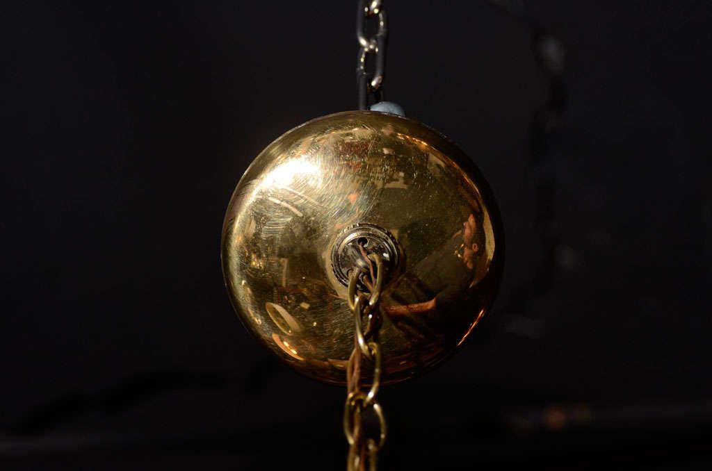 Danish Mid-Century Modern Chandelier in Teak and Brass For Sale 4