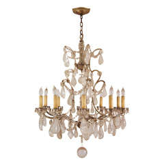 Fine French Silver-Gilt and Rock Crystal Chandelier