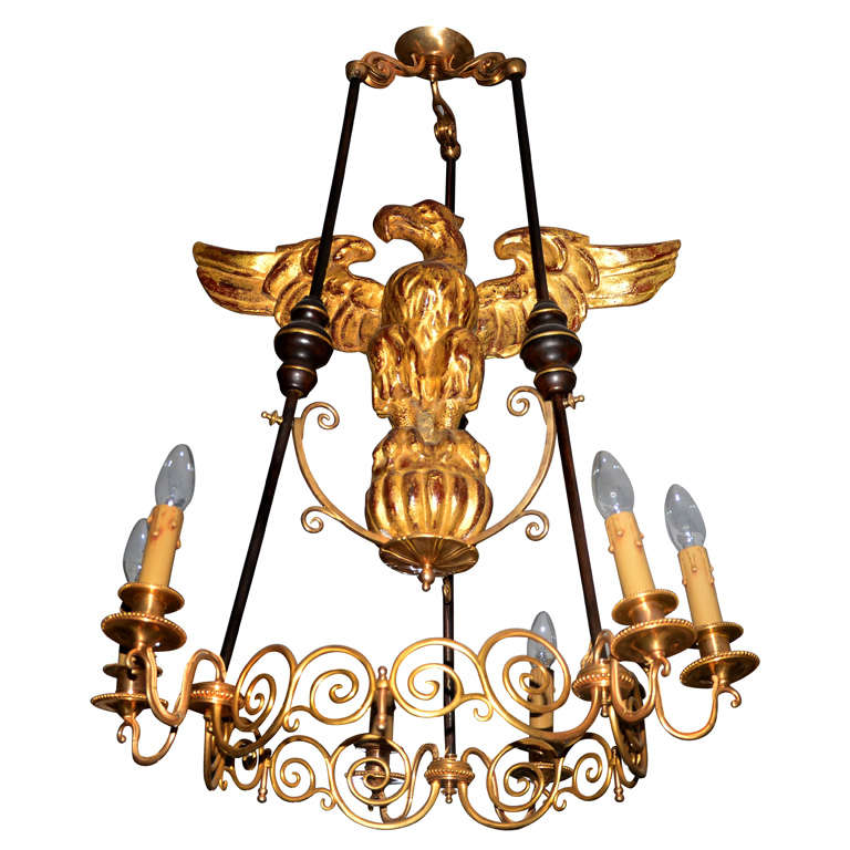 Very Unusual Gilded Wood And Bronze Chandelier At 1stdibs