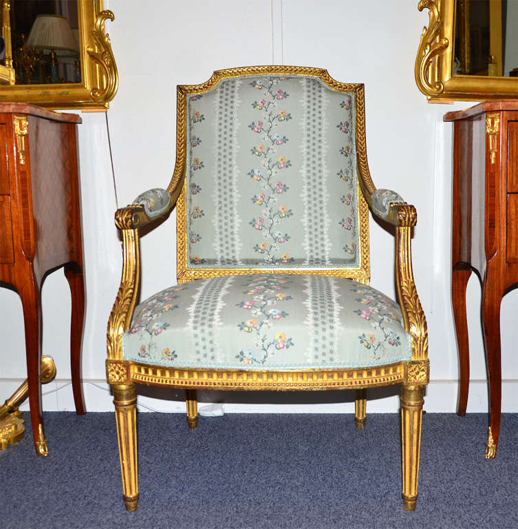 French louis xvi style salon set of 3 pieces gilded wood for Salon 3 pieces