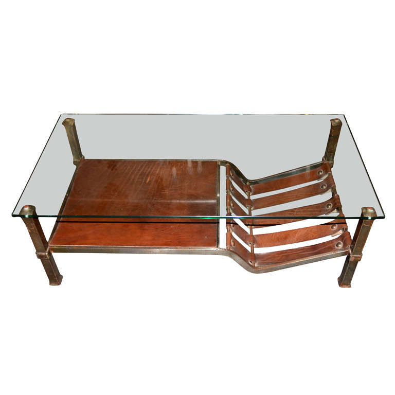 Unusual Coffee Table Polite Steel Glass And Leather At 1stdibs