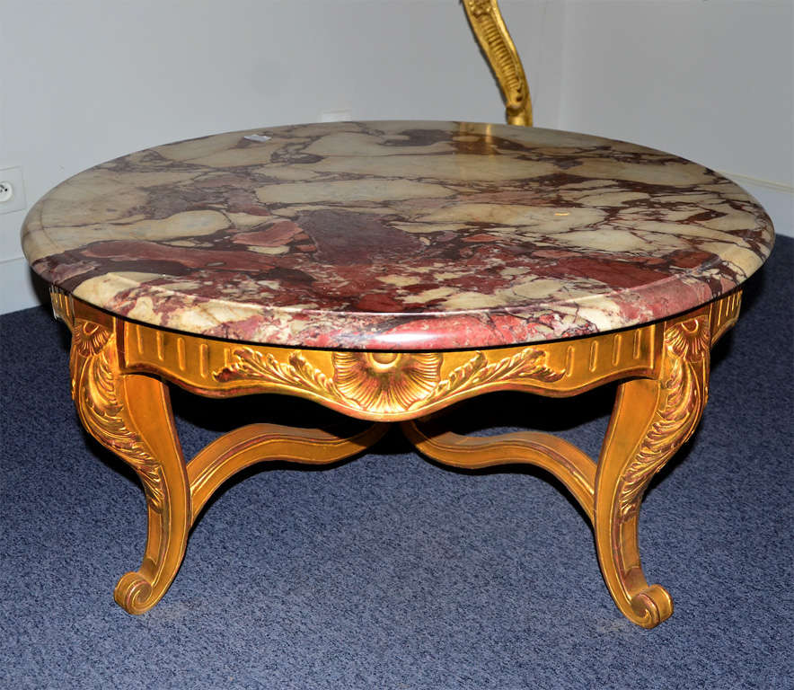 Round Marble Coffee Table: Pretty Round Coffee Table, Louis XV Style, Gilded Wood And
