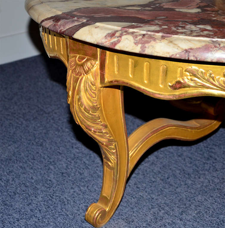 Kimball Marble Coffee Table: Pretty Round Coffee Table, Louis XV Style, Gilded Wood And