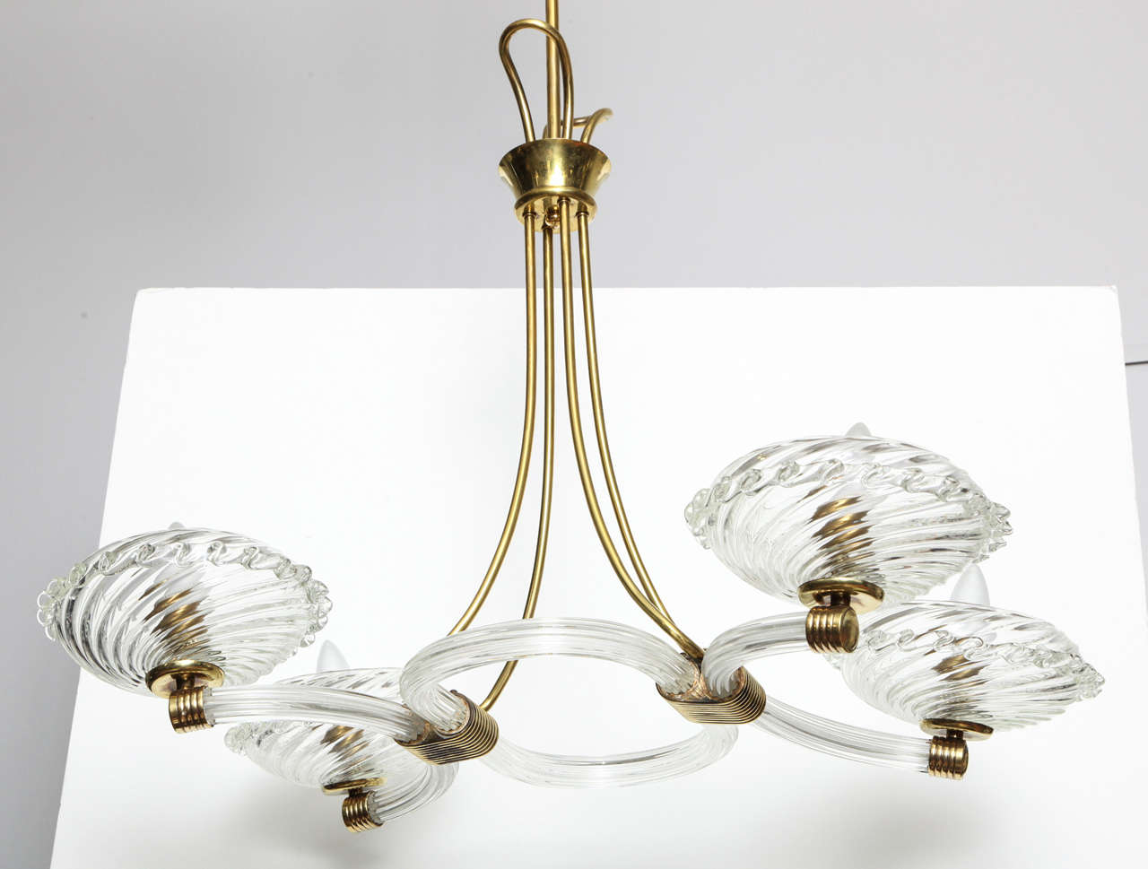 Art Deco Murano chandelier with fluted glass bowls.