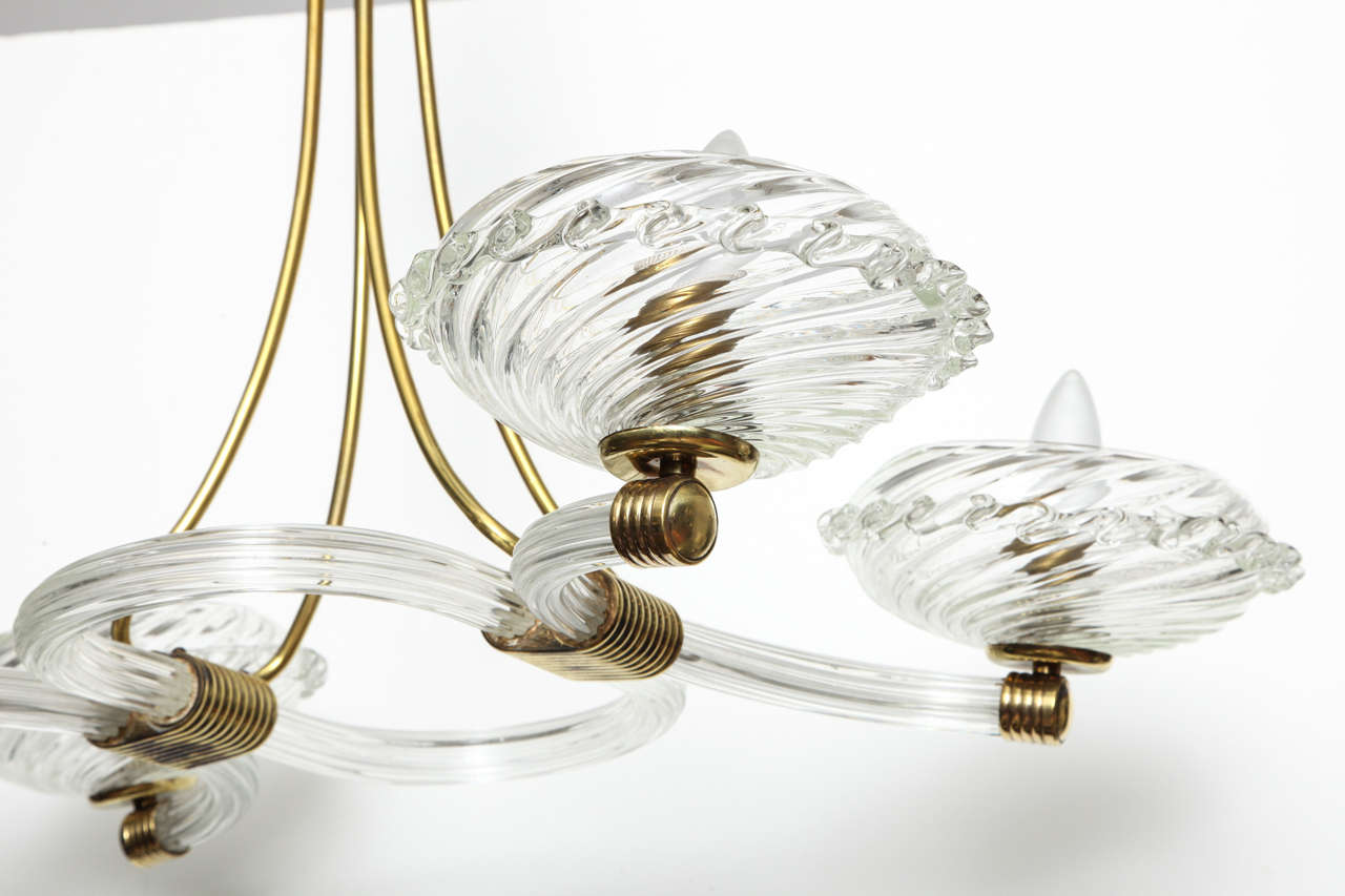 Art Deco Murano Chandelier In Excellent Condition For Sale In New York, NY