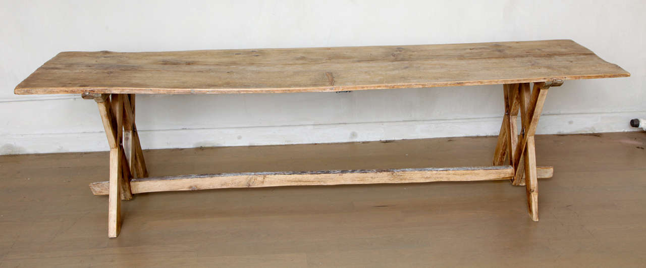 Pine wood dolomites pine dining console trestle table at 1stdibs