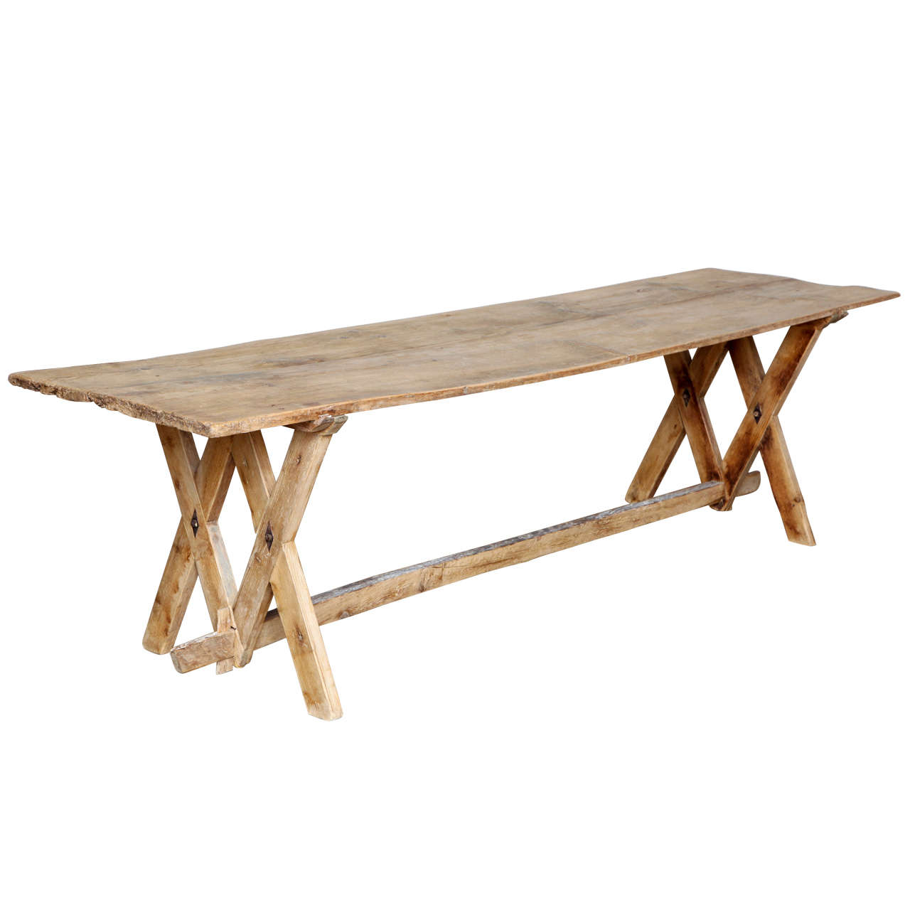 Rare Dolomites Pine Wood Dining Or Console Trestle Table, 18th Century For  Sale