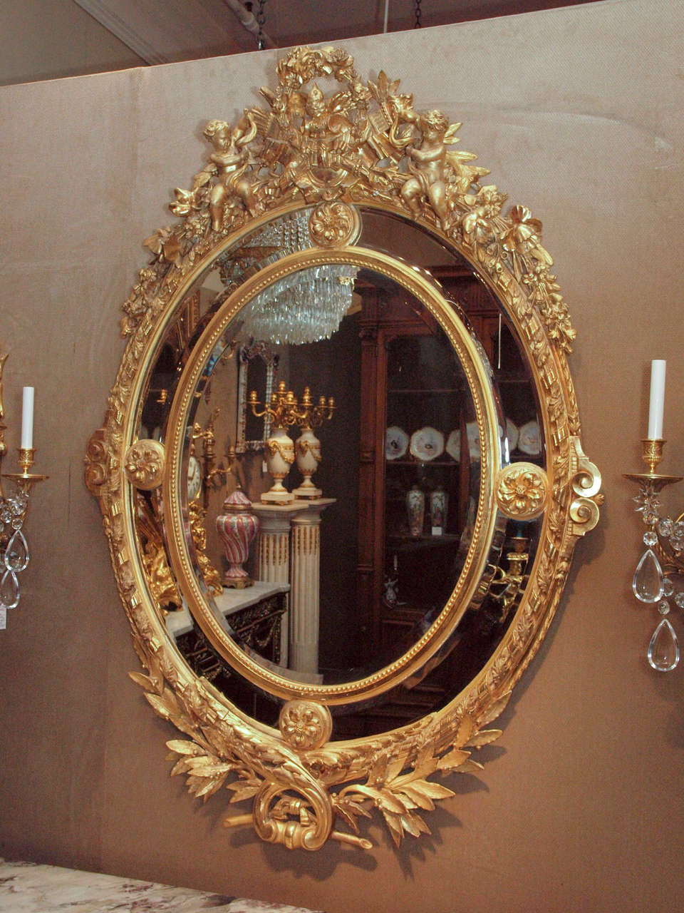Antique French Museum Quality Louis Xvi Gold Leaf Mirror
