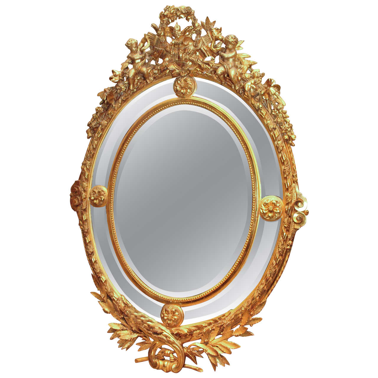 Antique french museum quality louis xvi gold leaf mirror for Mirror quality