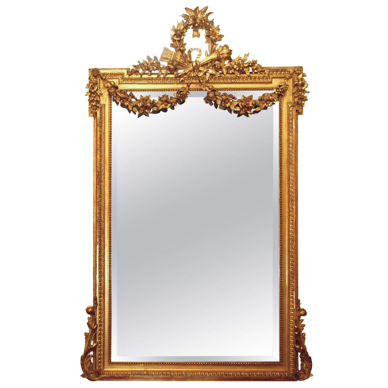 antique french louis xvi gold leaf mirror at 1stdibs
