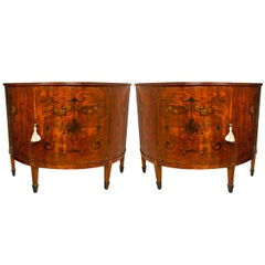 Pair Edwardian D Shaped Paint Decorated Cabinets