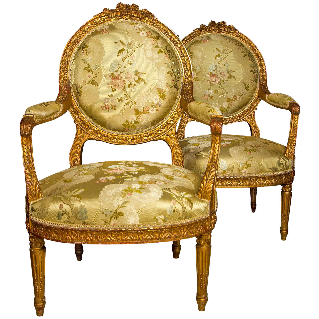 pair louis xvi style giltwood fauteuils at 1stdibs. Black Bedroom Furniture Sets. Home Design Ideas