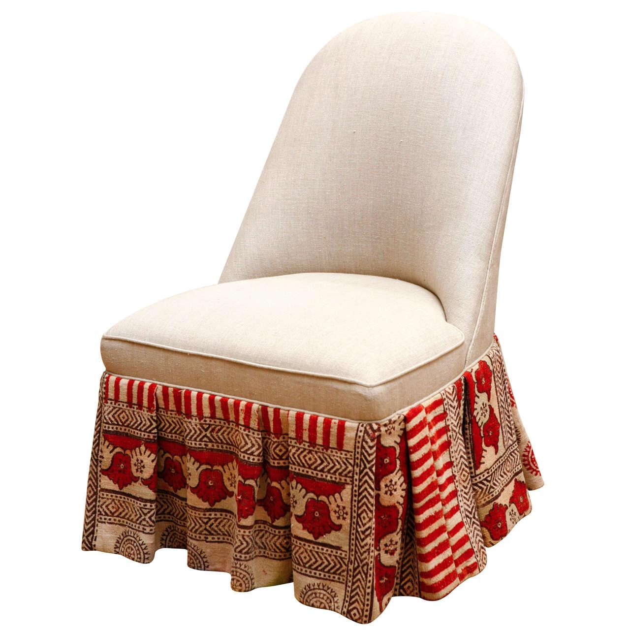 Slipper Chair With Vintage Indian Kalamkari Fabric At 1stdibs