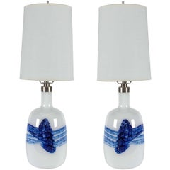 Pair of Michael Bang White/Blue Glass Lamps