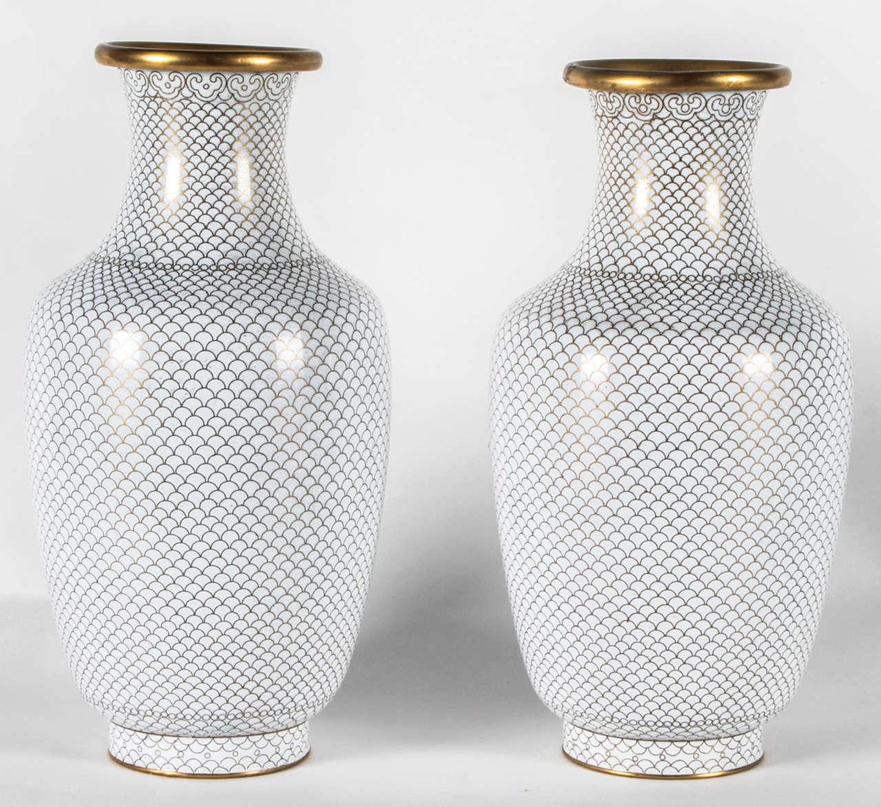 Pair of White Cloisonne Vases 2