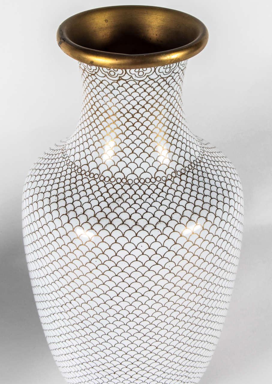 Pair of White Cloisonne Vases 3