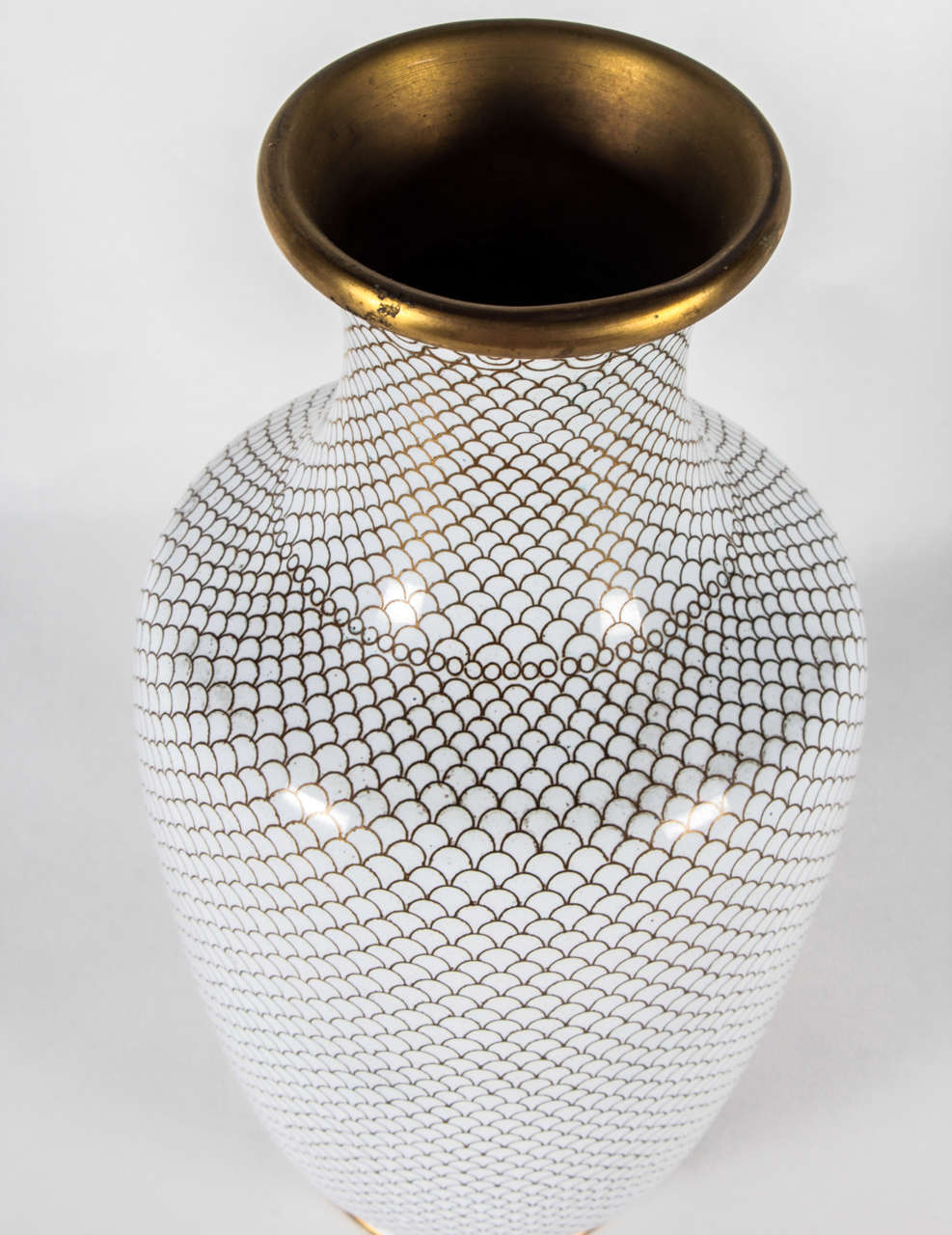 Pair of White Cloisonne Vases 4