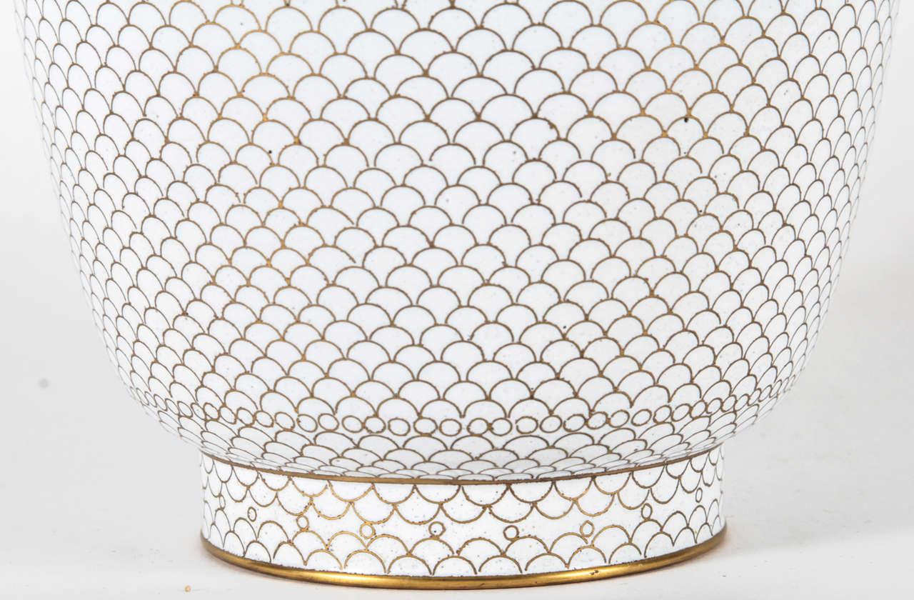 Pair of White Cloisonne Vases 7