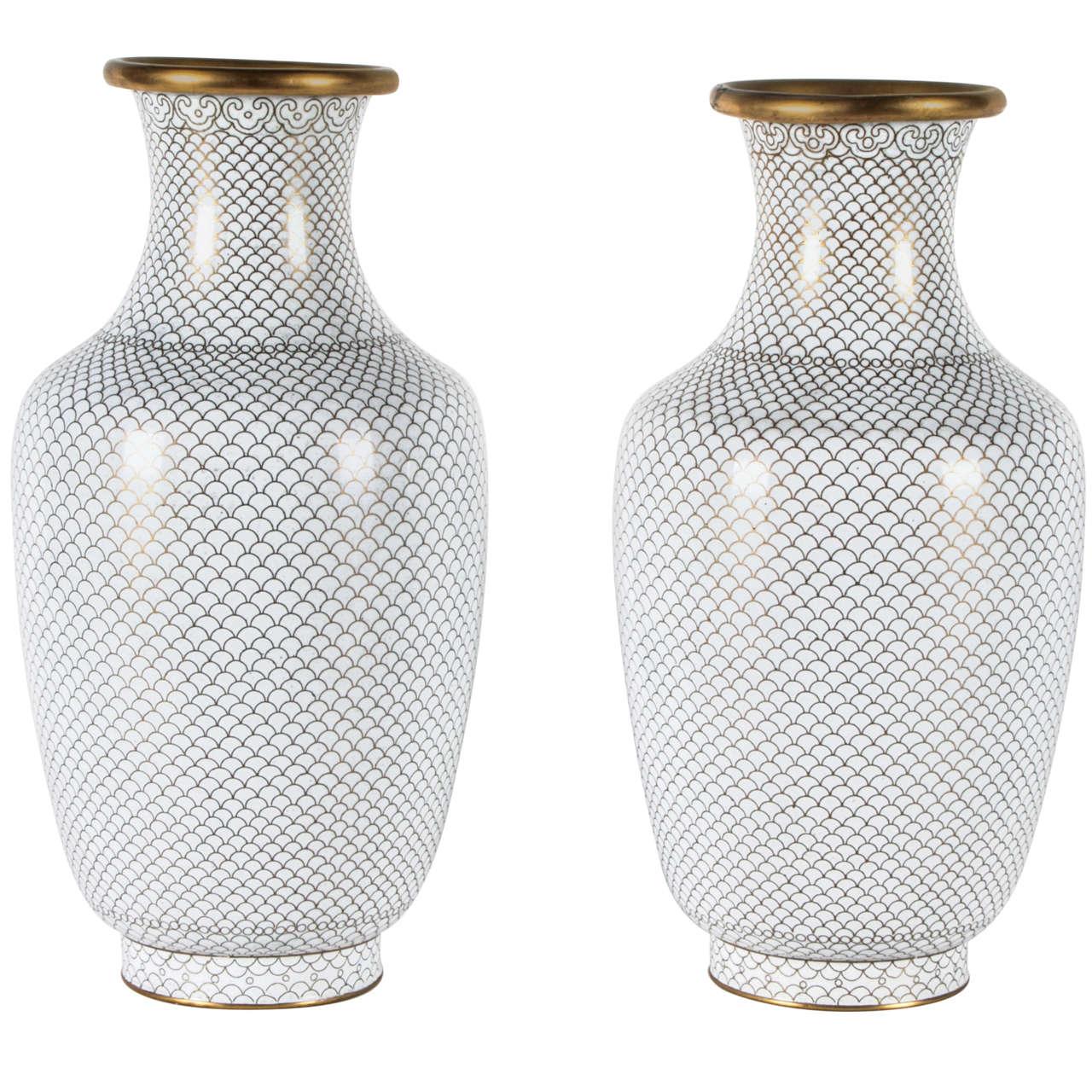 Pair of White Cloisonne Vases 1