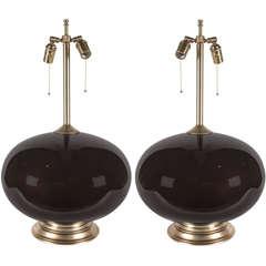 Pair of Large Dark Brown Orb Lamps by Barovier