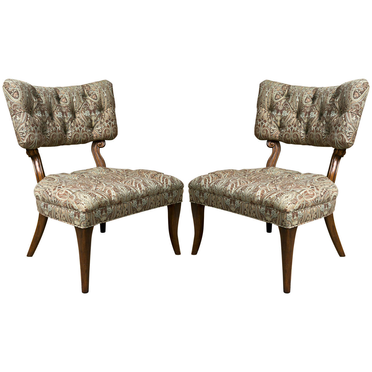 Pair Of Kravet James Mont Style Lounge Chairs For Sale At