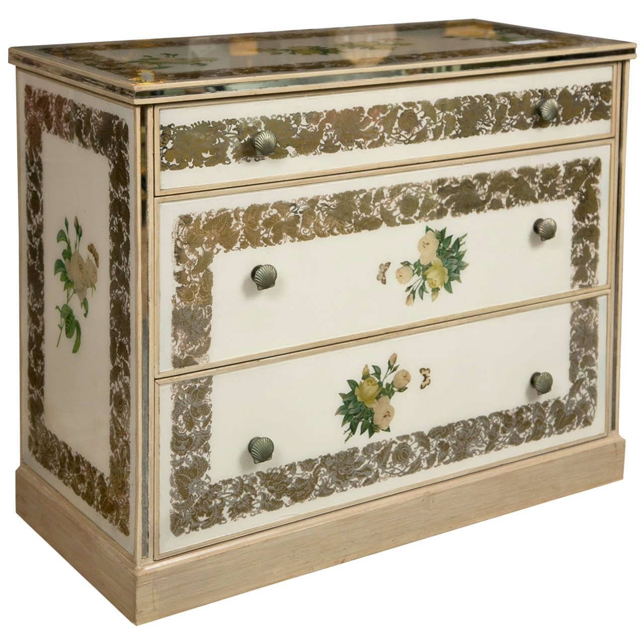 Art Deco Style Polychromed Mirrored Chest of Drawers Commode Night Stand