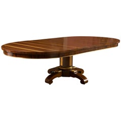 19th C Rosewood Russian Style Dining Table Gilt Wooden Designs Pedestal Base
