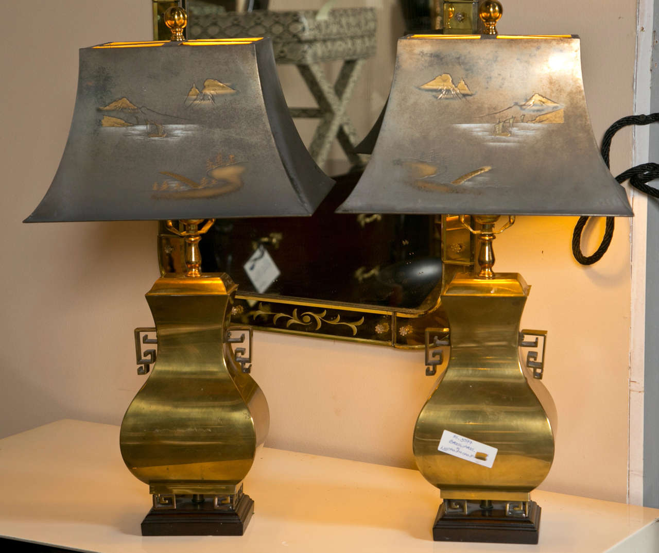 Pair Of Hollywood Regency Style Brass Lamps At 1stdibs