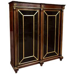 19th Century Russian Neoclassical Flame Mahogany Bookcase Cabinet Vitrine