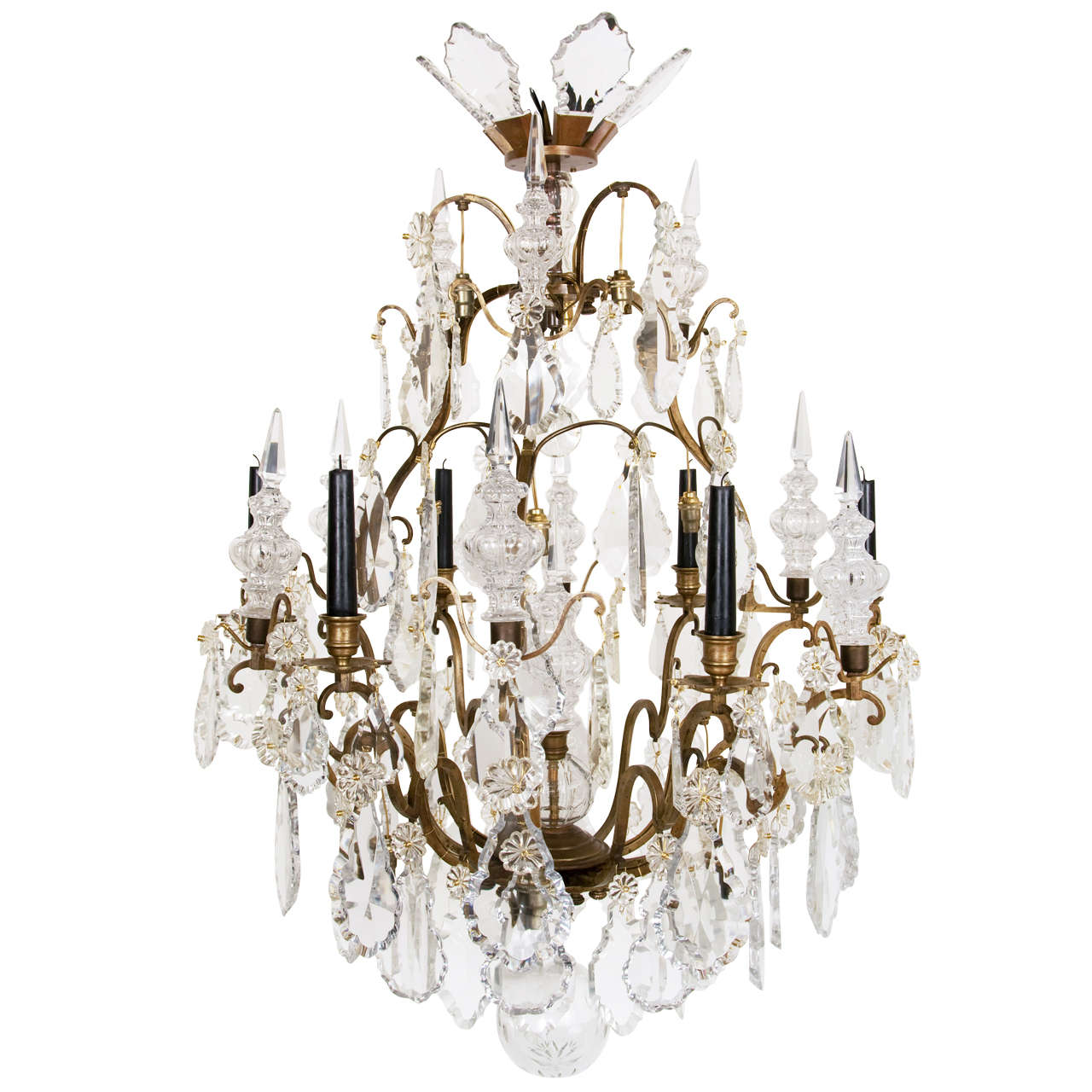 Louis XV Style Bronze and Glass Six Light Chandelier at