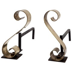 Scroll Andirons in Polished Brass