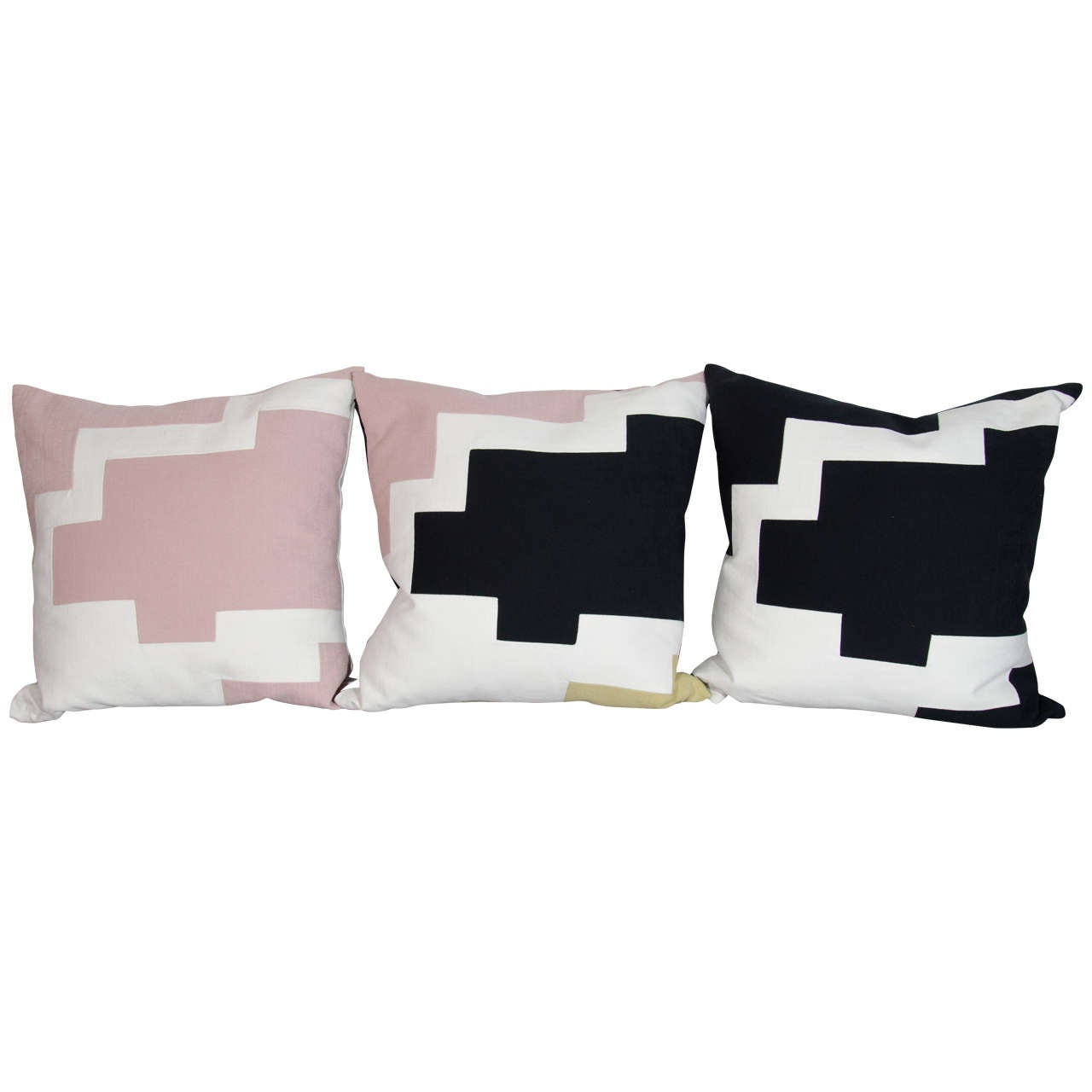 Couture throw pillows by Arguello Casa with abstract designs, inspired by the architectural skyline of New York City.  Individually handcrafted in New York, culminating in day long stitching process, and using the finest of Italian linens.  In hues