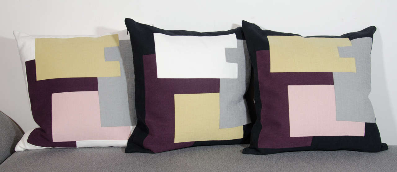 Mid-Century Modern Architectural Italian Linen Throw Pillows by Arguello Casa For Sale
