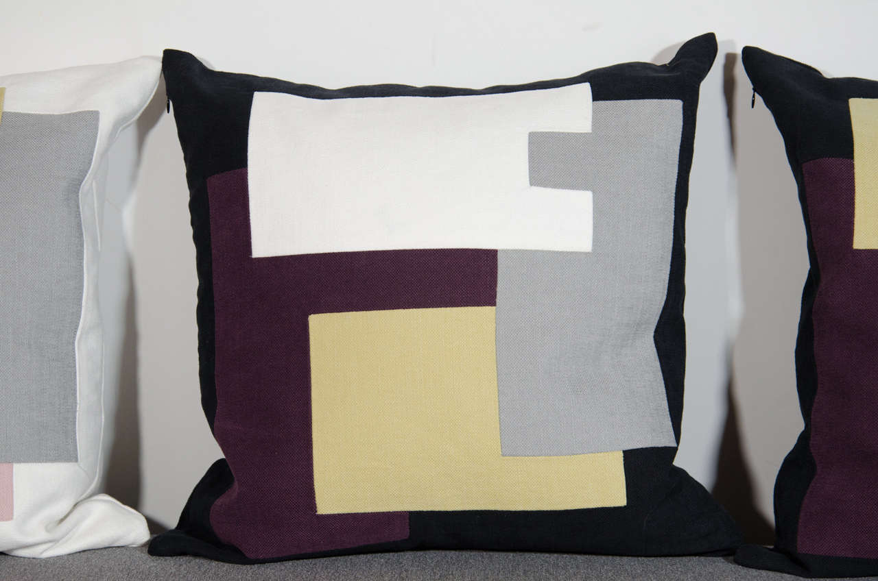 American Architectural Italian Linen Throw Pillows by Arguello Casa For Sale