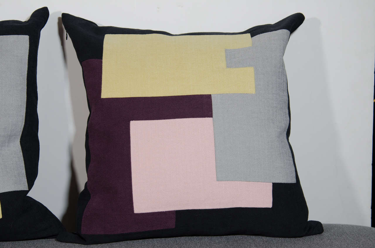 Hand-Crafted Architectural Italian Linen Throw Pillows by Arguello Casa For Sale