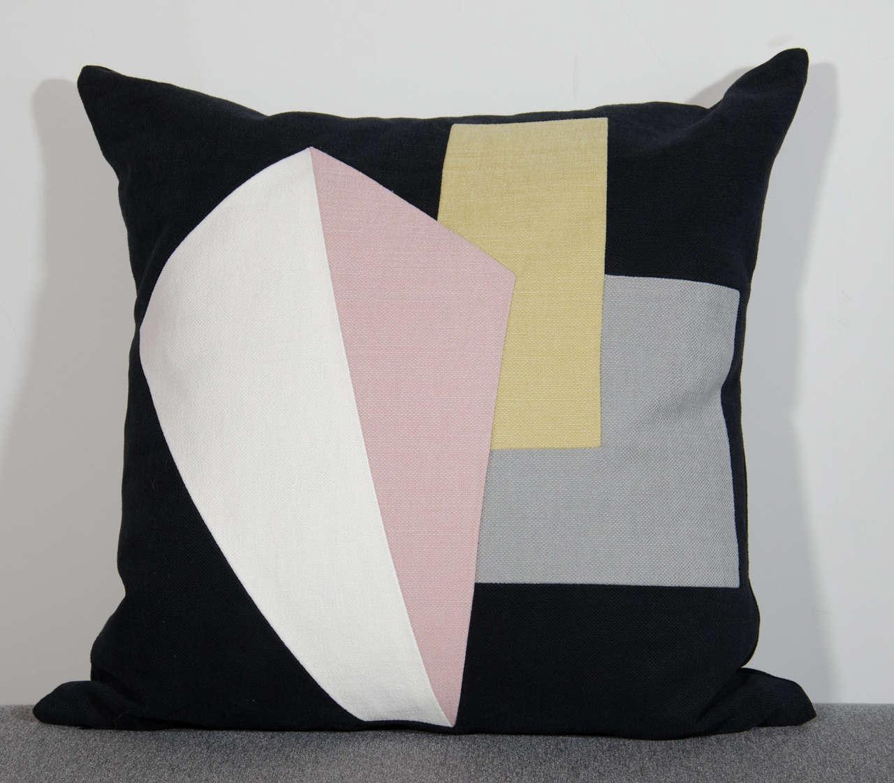 Contemporary Architectural Italian Linen Throw Pillows by Arguello Casa For Sale