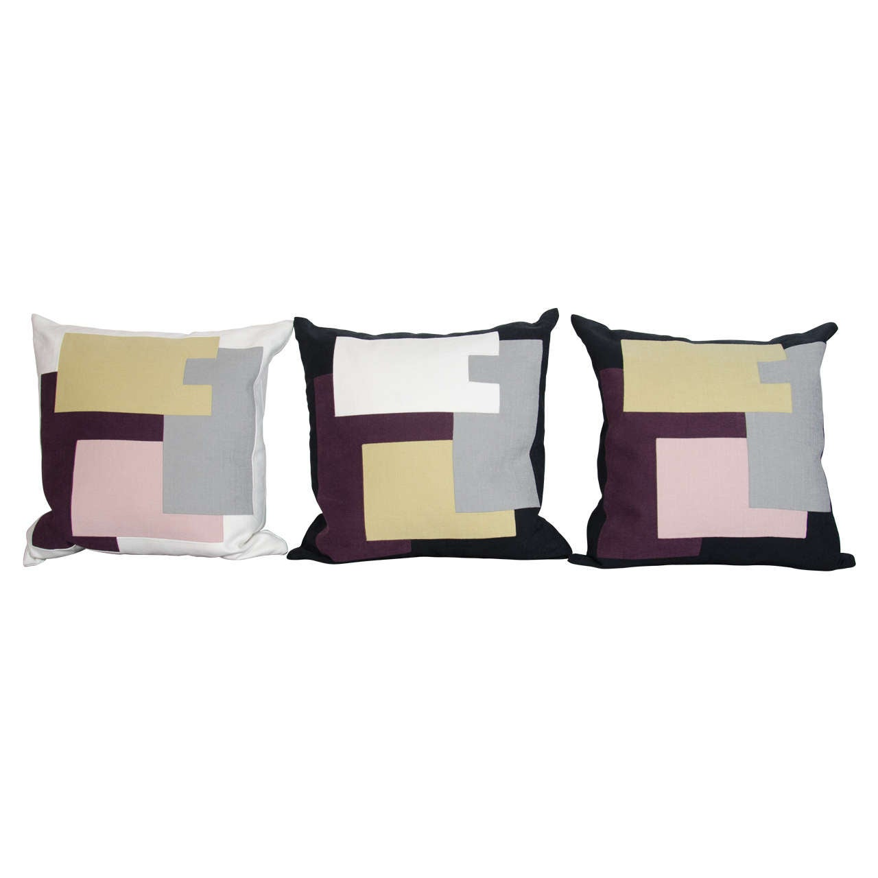 Couture throw pillows by Arguello Casa with abstract designs, inspired by the architectural skyline of New York City. Individually handcrafted in New York , culminating in day long stitching process, and using the finest of Italian linens. In hues