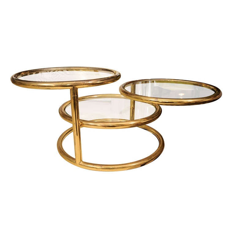 Three Tier Brass Coffee Table At 1stdibs