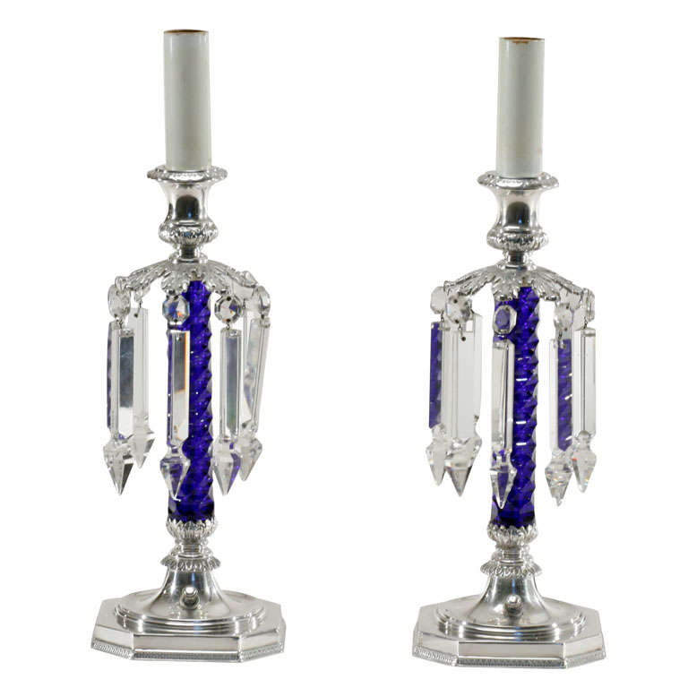 Pair of Signed Pairpoint Cobalt Cut Crystal Candle Lamps