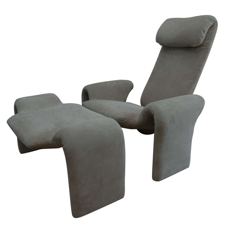 Suede chair and ottoman by olivier morgue at 1stdibs for Chaise longue montreal