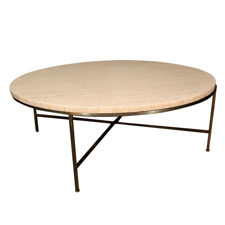 Paul McCobb Travertine And Brass Cocktail Table For