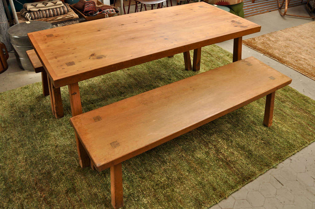 Solid Douglas Fir Dining Table With Benches For Sale 1