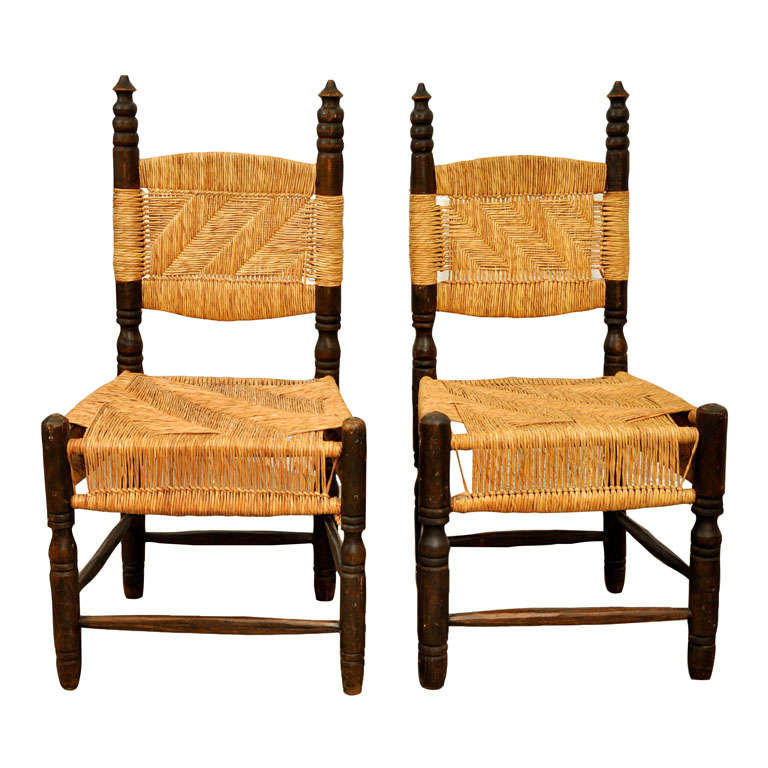 Vintage pair of turned wood side chairs at stdibs