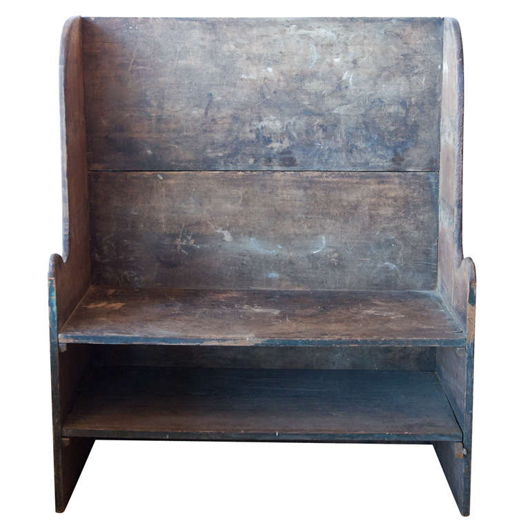 Early American High Back Bench At 1stdibs