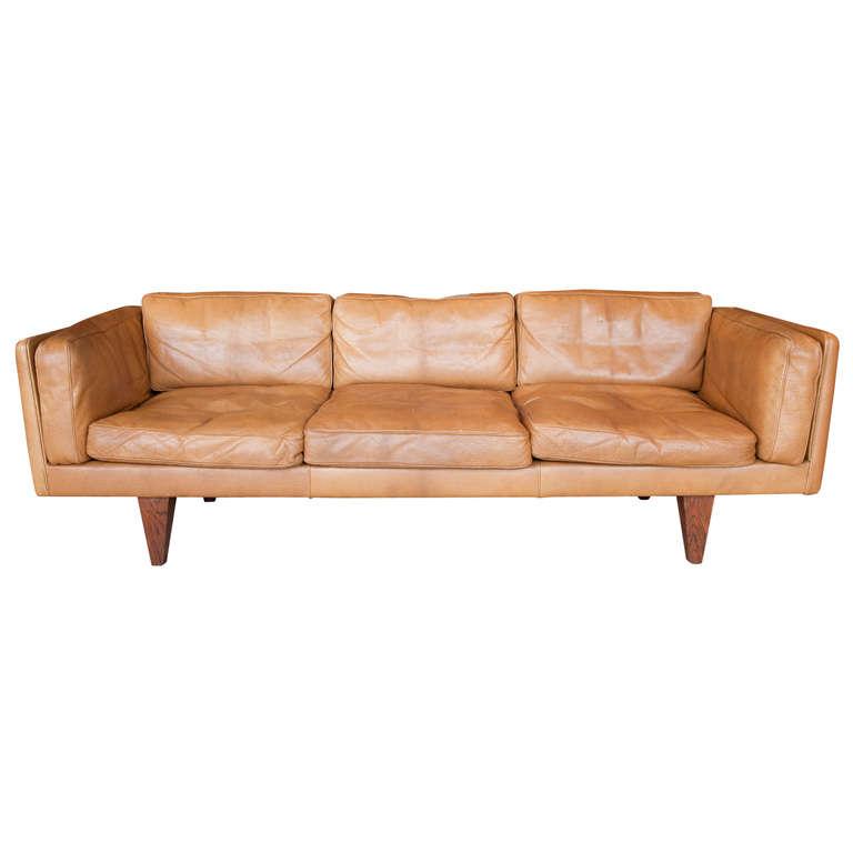 Illum Wikkelso Danish Sofa In Original Leather At 1stdibs