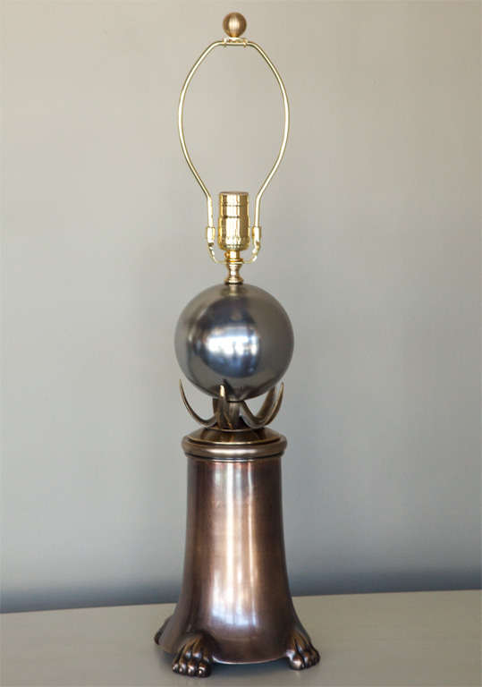 Mid-Century Brutalist Pair of Brass and Polished Nickel Table Lamps 3